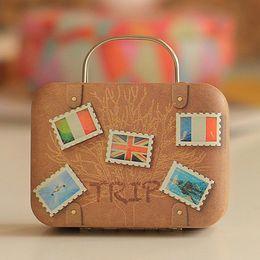 $enCountryForm.capitalKeyWord Australia - COCODE Europe Type Vintage Suitcase Shape Candy Storage Box Wedding Favor Tin Box Cable Organizer Container Household