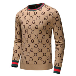 Hand knitted clotHing online shopping - Men s Brand Fashion Letter Embroidery Knitwear Winter Men s Clothing Crew Neck Long Sleeve Sweater for Men Designer Hoodies New Arrivals