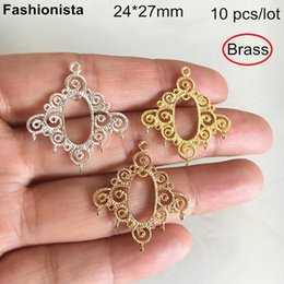 Brass Connectors Australia - 10 pcs -24*27mm Brass Filigree Chandelier Connectors,1 to 5 Links For Earrings Making,Gold-color,Silver-color,Raw Brass -HY