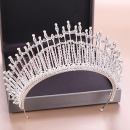 $enCountryForm.capitalKeyWord Australia - New Baroque Queen Crown Wedding Hair Accessories Bridal Pearl Tiara Head Piece Silver Pearl and Crystal Tiara Nupcial Rhinestone