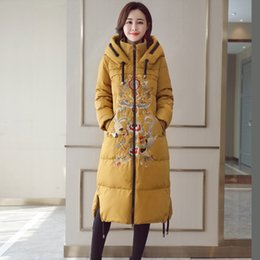 Wholesale Embroidered Womens Tops Winter Coats Duck Down Jacket Hooded Long Down Parka Thicken Warm Windbreaker Overcoat Chinese Style High Quality