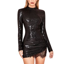 4f42ef58cd04 Sequin dress Women Summer Spring party dress Vintage fashion solid Lace  patchwork Sparkle Glitzy Glam Long Sleeve Flapper robe