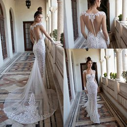 berta bridal dresses Canada - 2019 Berta Lace Mermaid Wedding Dresses Sexy Illusion Back Long Sleeves Wedding Bridal Gowns Sweetheart Lace Appliques Beach Wedding Gown