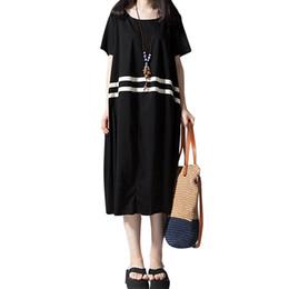 bfd9c043ac23 2019 nuove donne abito allentato strisce contrasto maniche corte estate  Kpop Dress coreano stile O-Collo abiti casual Midi Vintage