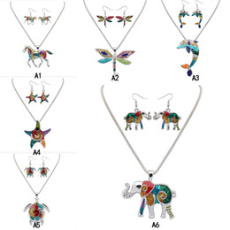 $enCountryForm.capitalKeyWord Australia - Rainbow Enamel Animal Jewelry Set unicorn dragonfly dolphin Elephant starfish Turtle Pendant Necklace Dangle Ear hook Earring For women Gift