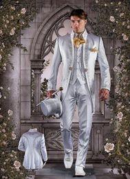 Mandarin Suit Tie Australia - New Popular Mandarin Lapel Embroidery Groomsmen One Button Groom Tuxedos Men Suits Wedding Prom Best Man Blazer ( Jacket+Pants+Vest+Tie) 310