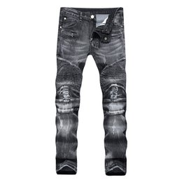 mens short jeans Australia - Distressed Ripped Skinny Jeans Fashion Designer Mens Shorts Jeans Slim Motorcycle Moto Biker Causal Mens Denim Pants Hip Hop Men Jeans