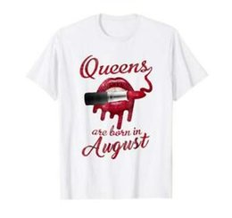 $enCountryForm.capitalKeyWord Australia - Queens Are Born In August Lipstick Red Lip Funny White T-shirt