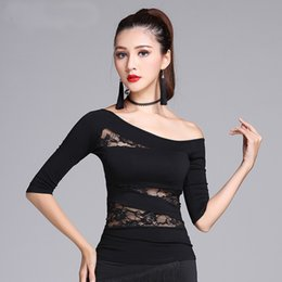 $enCountryForm.capitalKeyWord NZ - New Black Lace Half sleeve One-shoulder sexy Latin Dance clothes top for women female, Ballroom Costume performance wear MD7201