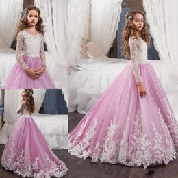 $enCountryForm.capitalKeyWord NZ - 2019 New Pink Lovely Long Sleeves Flower Girl Dresses Princess Crew Necl Lace Bodice Appliques Belt Girl's Pageant Dresses 1046