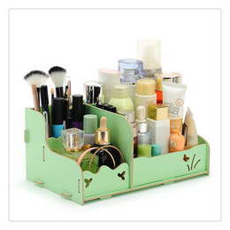 Wood Drawer Storage Box Australia - Storage Drawers Box DIY Wood Beauty Makeup Cosmetics Organizer Removable Case Cute Style Table Counter Top