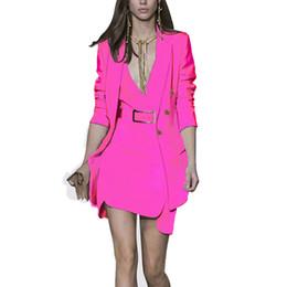 Suit Design Colors Australia - Unique Design Women Elegant Fashion Dress Suits Blazer Jackets Tank Slim Dress 3 Colors Slim OL Formal Twin Sets