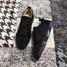 085412f6 Специальное предложение 2019 замша черный горный хрусталь Strass красные  нижние туфли мужские женские плоские красные подошвы туфли низкие кроссовки  на ...