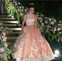 Pear Color Dress Australia - Princess Peach Ball Gown Quinceanera Dresses 2019 New High Neck Sleeveless Lace Appliqued Beaded Luxury Sweet 16 Dress Prom Party Gowns