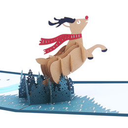 $enCountryForm.capitalKeyWord Australia - 3D Up Christmas Elk Greeting Card Xmas Hollowing Gift Blessing Pop Up Greeting Postcard Free Shipping C2112