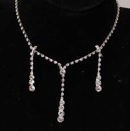 $enCountryForm.capitalKeyWord Australia - Bling Crystal Bridal Jewelry Set silver plated necklace diamond earrings Wedding jewellery sets for bride Bridesmaids women Accessories
