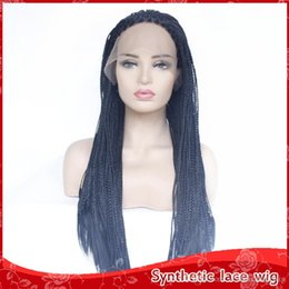 box braids 2019 - Fast Shipping Top Quality Black Braided Box Braids Wig 26In Real Hair Natural Looking Synthetic Glueless Front Lace Wigs