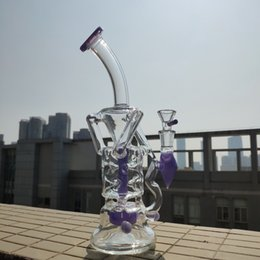 Water Pipe Art Australia - Turbine Perc Glass Bong Double Recycler Tornado Dab Rig Art Bong Fab Egg Oil Rigs 10inch Water Pipes Green Purple Pink Bongs