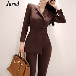 Office Jumpsuits Australia - New fashion office OL Double-Breasted Women Jumpsuits Autumn Long Sleeve Irregular Work Wear Notched Collar Jumpsuit Overalls T5190614
