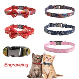 Wholesale pawstrip Engraved Dog Collar Leather Puppy Leash Cute Bow Cat Collars Name Phone Dog ID Tag Custome Pet Collar For Dogs Cats