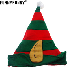 wholesale elf costumes Australia - FUNNYBUNNY Striped Elf Hat with Ears Costume Accessory