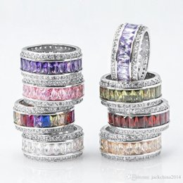 princess cut sterling silver ring NZ - Size 6-10 Luxury Jewelry 925 Sterling Silver Princess Cut Multi Color CZ Diamond Amethyst Gemstones Women Wedding Circle Band Ring Gift