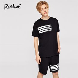 Black Striped T Shirt Men Australia - Men Striped Print Black T-shirts With Pocket Patched Shorts Mens Set 2019 Male Sports Tees And Straight Shorts Co-ords