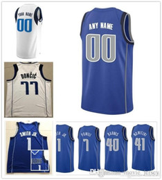 f561b123e93 Custom 2019 Basketball Jersey Dallas Dwight J.J. Powell Barea Jalen Maxi  Brunson Kleber Dirk Luka Nowitzki Doncic Mavericks Men Jerseys