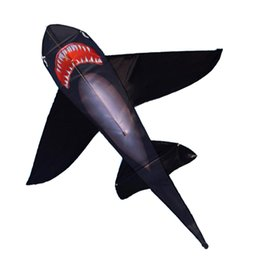 Kite lines online shopping - Strong Black Shark kite With Long Colorful Tail Huge Beginner Shark Kites for Kids And Adults Come With String And Handle