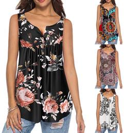 White Peplum T Shirt Australia - Women Floral Sleeveless T Shirt Casual Top Fashion Single Breasted Button V Neck Peplum Long Loose Blouse White Black Brown Orange