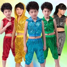 clothes for hip hop dancing Australia - 5 Colors New Children Performance Clothes Sequins Hip Hop Jazz Dance Costume For Kids Hooded Tops And Pants Street Dance Suit