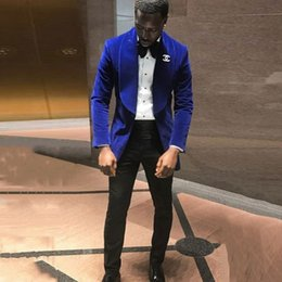 $enCountryForm.capitalKeyWord NZ - Royal Blue Velvet Groom Tuxedos Smoking Jacket Men Suits for Wedding Best Man Suits Blazers 2Piece(Coat+Pants)Slim Fit Terno Masculino