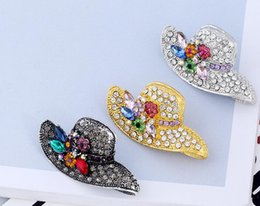 Mexican Christmas Party Decorations Australia - fashion 3Colors Fashion Hats Rhinestone Pin Brooch Designer Brooches Badge Metal Enamel Pin Broche Women Luxury Jewelry Party Decoration
