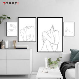 Discount nude body art painting - Nordic Posters&Prints Modular Minimalist Line Drawing Wall Pictures Sexy Woman Body Nude Art Paintings Bedroom Home Deco