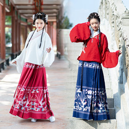 Wholesale chinese clothes skirts for sale - Group buy New Fashion Hanfu Female Fairy Skirt Daily Hanfu Improvement Chinese Style Performance Clothing Chinese Folk Dance Costume
