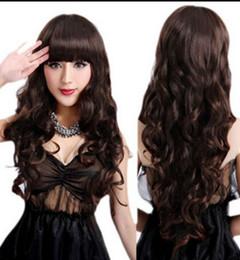 straight bangs wavy hair 2019 - WIG LL<<< 002540 Sexy Women Lady Fashion Wavy Long Broan Hair Cosplay Party Full Bangs Wig cheap straight bangs