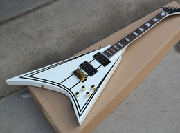 Black Blocks Australia - Free Shipping Factory High Quality White Electric Guitar with Black Strips Pettern,Gold Hardware,Rosewood Fretboard,Block Fret Inlay