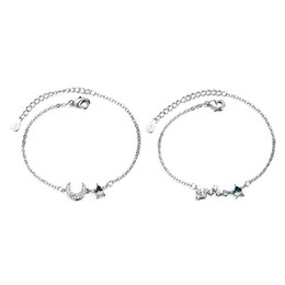 jewel chains Australia - 925 Sterling Silver Moon And Star Chain Link Bangles Bracelets for Women Jewel 40JF