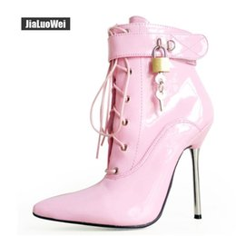 Purple Martin Boots Australia - 2018 Women Pointed Toe Ankle Strap Boots Lady Cross-tied 12C Metal Thin Heel Sexy Fetish Padlocks Lockable Martin Boots Queen dancing shoes