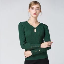 97358cf9a Verde oco camisola mulheres blusas de malha mulher oversized moda longa 2019  primavera outono plus size grande slim sexy lã