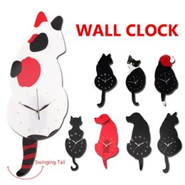 pattern batteries Australia - Cat Dog Animal Pattern Vintage Wall Clocks Swing Tail Bedroom Living Room Offlice Decor Wall Hanging Clock Without Battery