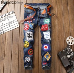 Patches Trousers Australia - Hello528shop Vintage Men's Hole Slim Straight Fit Jeans Designer Embroidery Badge Patch Cowboy Trousers