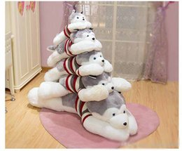 Discount hot doll for dogs - Hot Animal Husky Plush Toy Giant Cartoon Lying Dog Doll Sleeping Pillow for Children Gift Wedding Deco 39inch 100cm