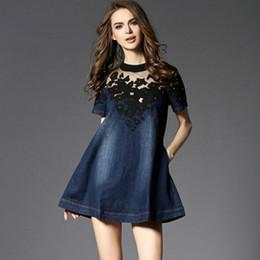 505115408 Moda Europa 2017 nueva mujer vestido de mezclilla de algodón fino de manga  corta Verano Primavera delgado color puro azul marino vestido de las mujeres
