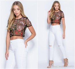 Mesh Fiber Australia - Nice Summer Pop Women Crop Top Crochet Lace Trim Lace Up Front Camis Flower Embroidery Mesh Top Cutout Short T Shirt