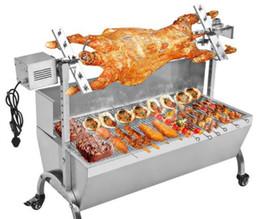 Toptan satış 90 cm Gıda İşleme Ekipmanları Ticari Hog Kızartma Makinesi BARBEKÜ Spit Tavuk Domuz Kavurma Rotisserie Paslanmaz Çelik Kavurma Motoru