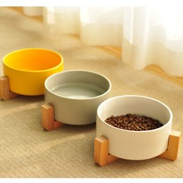 dogs bowls NZ - Supplies Pet Small Dog Cutlery Rice Ceramic Cat Bowl Solid Wood Frame Strong Easy To Clean Three Color Q190523
