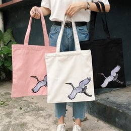 Art Canvas Prints Australia - Canvas Wholetide Cotton Single Shoulder Portable Art Print Bag Female Green Simple Package Swan Shark Zebra Cartoon Hand Bags