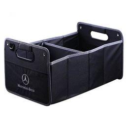 Trunk Storage Box Australia - Universal Luxury Car Trunk Organizer Auto Collapsible Cargo Storage Box Embroidery with Logo for Audi BMW Land Rover Mercedes-Benz