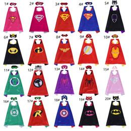 20 estilo de calidad superior de superhéroes Cape Mask Set para niños de dibujos animados Superhéroe trajes de la película niño Cosplay Capes fiesta de cumpleaños de Halloween favores
